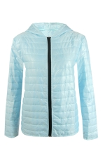 Womens Hooded Zip Up Long Sleeve Plain Down Jacket Light Blue