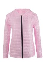 Womens Hooded Zip Up Long Sleeve Plain Down Jacket Pink