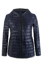 Womens Hooded Zip Up Long Sleeve Plain Down Jacket Navy Blue