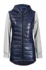 Womens Zip Up Sweatshirt Sleeve Patchwork Hooded Down Jacket Navy Blue