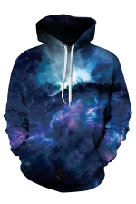 Womens Galaxy Printed Pocket Long Sleeve Drawstring Hoodie Navy Blue