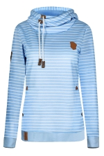 Womens Striped Long Sleeve Pullover Drawstring Hoodie Light Blue