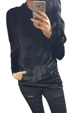 Womens Pleuche Pocket Long Sleeve Pullover Plain Hoodie Black