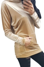Womens Pleuche Pocket Long Sleeve Pullover Plain Hoodie Khaki
