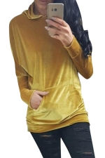 Womens Pleuche Pocket Long Sleeve Pullover Plain Hoodie Yellow