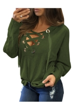Womens Lace-up V Neck Long Sleeve Plain Hoodie Dark Green