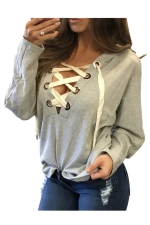 Womens Lace-up V Neck Long Sleeve Plain Hoodie Gray