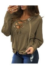 Womens Lace-up V Neck Long Sleeve Plain Hoodie Khaki