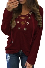 Womens Lace-up V Neck Long Sleeve Plain Hoodie Ruby