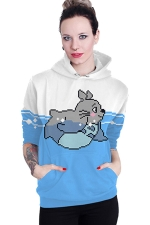 Womens Long Sleeve Cute Totoro Printed Pocket Pullover Hoodie Blue