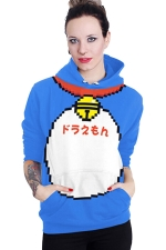 Womens Long Sleeve Cute Doraemon Printed Pocket Pullover Hoodie Blue