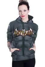Womens Long Sleeve BATMAN Printed Pocket Pullover Hoodie Dark Gray