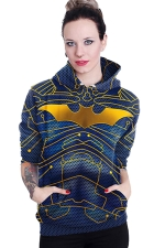 Womens Long Sleeve Batman Printed Pocket Pullover Hoodie Gold
