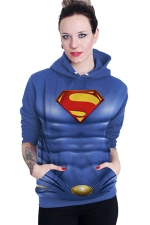Womens Long Sleeve Superman Printed Pocket Pullover Hoodie Blue