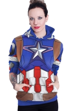 Womens Long Sleeve Captain America Printed Pocket Pullover Hoodie Blue