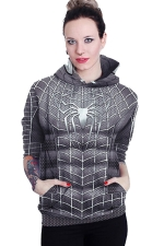 Womens Long Sleeve Spiderman Printed Pocket Pullover Hoodie Gray
