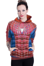 Womens Long Sleeve Spiderman Printed Pocket Pullover Hoodie Red