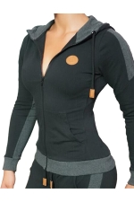 Womens Zip Up Pockets Long Sleeve Sports Hoodie Black