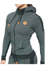 Womens Zip Up Pockets Long Sleeve Sports Hoodie Gray