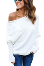 Womens Plain Pullover Boat Neck Batwing Sleeve Sweater White