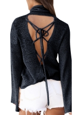 Womens Cowl Neck Lace-up Back Flare Sleeve Plain Sweater Black