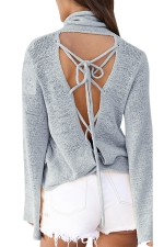 Womens Cowl Neck Lace-up Back Flare Sleeve Plain Sweater Gray