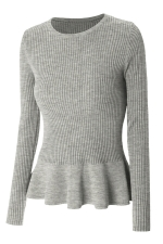 Womens Crewneck Long Sleeve Ruffled Hem Pullover Sweater Gray