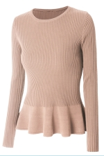 Womens Crewneck Long Sleeve Ruffled Hem Pullover Sweater Pink