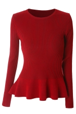 Womens Crewneck Long Sleeve Ruffled Hem Pullover Sweater Red