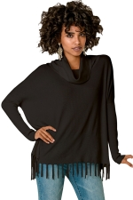 Womens Cowl Neck Fringe Hemline Long Sleeve Sweater Black