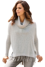 Womens Cowl Neck Fringe Hemline Long Sleeve Sweater Gray