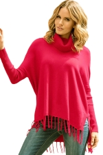 Womens Cowl Neck Fringe Hemline Long Sleeve Sweater Rose Red