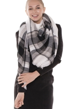 Womens Eyelash Tassel Color Block Plaid Shawl Scarf Gray