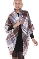 Womens Eyelash Tassel Color Block Plaid Shawl Scarf Khaki
