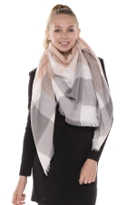 Womens Eyelash Tassel Color Block Plaid Shawl Scarf Light Gray