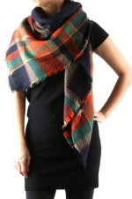 Womens Eyelash Tassel Color Block Plaid Shawl Scarf Tangerine