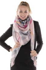 Womens Eyelash Tassel Color Block Plaid Shawl Scarf Pink