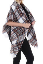 Womens Eyelash Tassel Color Block Plaid Shawl Scarf White