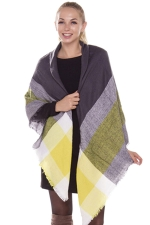 Womens Eyelash Tassel Color Block Plaid Shawl Scarf Yellow