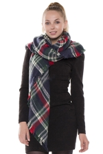 Womens Eyelash Tassel Color Block Plaid Shawl Scarf Navy Blue