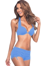 Womens 2-piece High Waist Drawstring Bottom Sports Bikini Set Blue