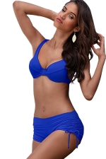 Womens 2-piece High Waist Drawstring Bottom Bikini Set Sapphire Blue