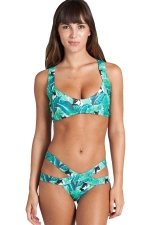 Womens Printed Cut-out Bandage Top&Bottom Swimsuit Suit Khaki