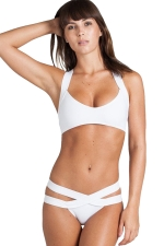 Womens Plain Cut-out Bandage Top&Bottom Swimsuit Suit White