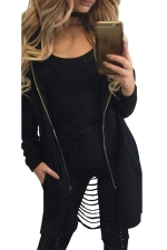 Womens Zip Up Ripped Back Long Sleeve Hooded Trench Coat Black