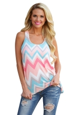 Womens Color Block Rhombus Printed Tank Top Light Blue