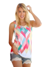Womens Color Block Rhombus Printed Tank Top Rose Red