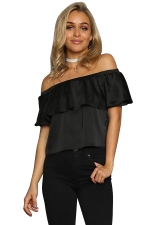 Womens Plain Ruffled Elastic Off Shoulder Top Black