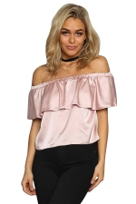 Womens Plain Ruffled Elastic Off Shoulder Top Pink