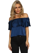 Womens Plain Ruffled Elastic Off Shoulder Top Navy Blue